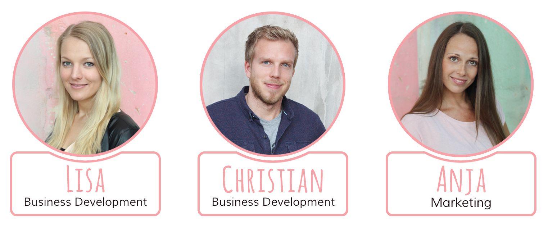 Unsere Teammitglieder Lisa, Christian und Anja